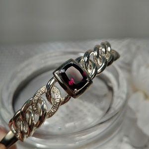 Sterling Silver Diamond Garnet Bracelet